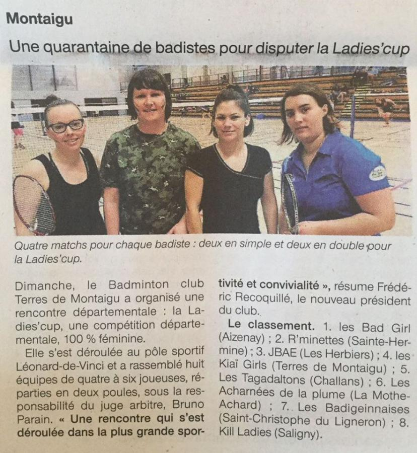 Article Ouest France Ladies Cup 2018