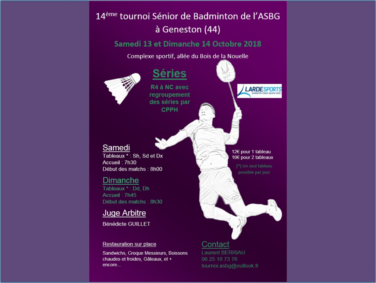 Tournoi sénior Geneston - 13/14 octobre 2018