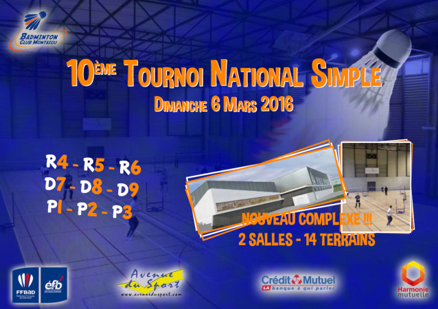 Convocation 10ème Tournoi National Simple 6 Mars